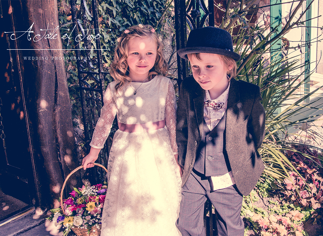 Flower girl and Pageboy at Carol and Aaron`s wedding, taken at Didsbury Parsonage Gardens, Manchester...for booking info please visit www.ataleoftwo.co.uk