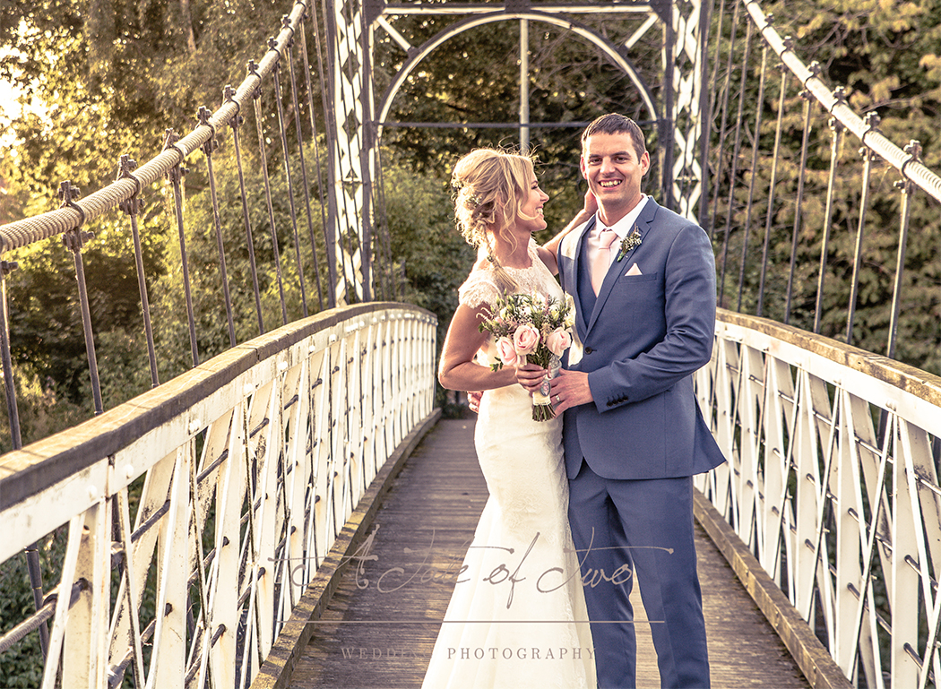 Faye and Daniel`s wedding, shot taken on bridge close to The Park Manor, Warrington...for booking info please visit www.ataleoftwo.co.uk