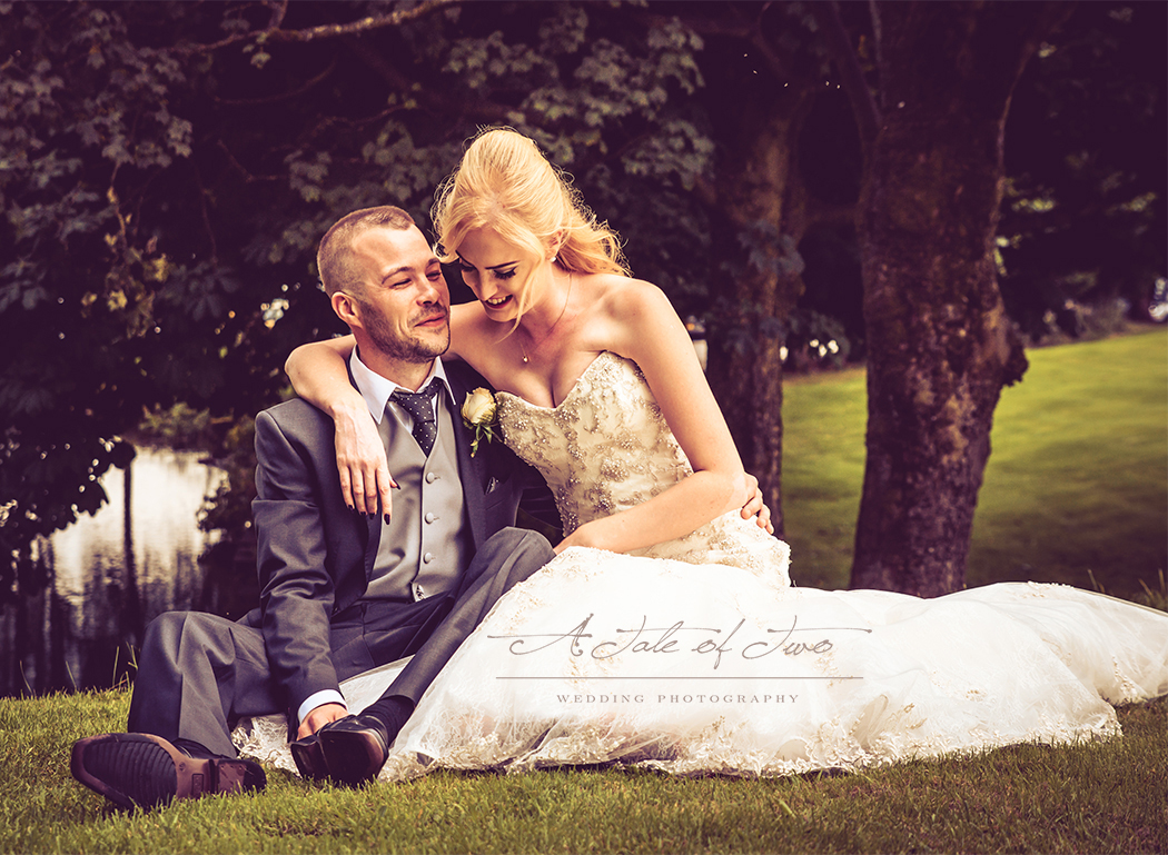 Kylie and Sean by the pond at The Bolholt Hotel, Bury...for booking info please visit www.ataleoftwo.co.uk